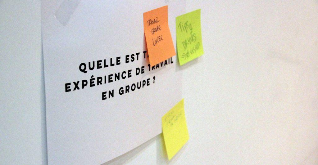 photo d'une feuille avec la question portant sur l'expérience du travail en groupe